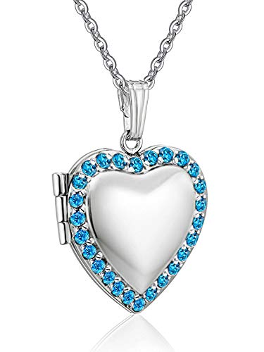 Love Heart Locket Necklace Holds Pictures Paved Blue Red White CZ Rose Gold Charm Living Memory Lockets (Blue CZ Locket)