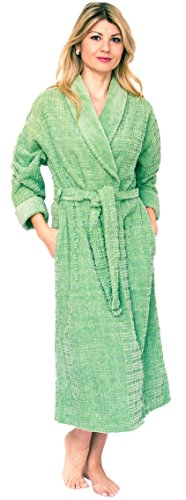 Bath & Robes Women's Long Chenille Robe with Shawl 2X Olive Green