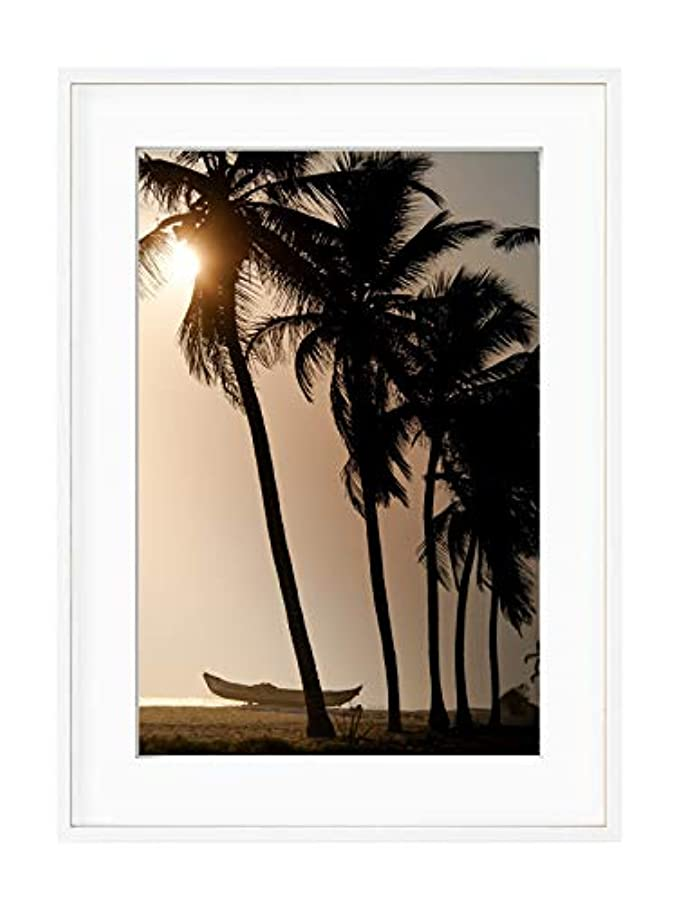 Sunset Coconut Trees, Black Satin Aluminium Frame, with Mount, Multicolored, 40x50