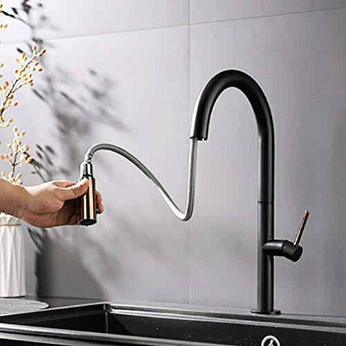 Hiwenr Rose met zwarte keukenkraan Hot Cold Mixer Tap Deck Mount draaibare twee functies modi put out Spout Europa Type