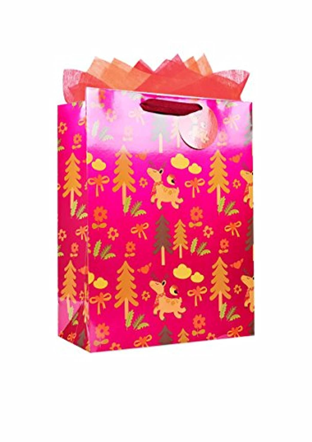 The Wrap It Metallic Premium Party Favor Paper Gift Bag with Handle, Design for Party, Valentine's Day, Birthday, Wedding, Christmas, X-Large, Fatty Deer Red, Set of 6 (Vertical)