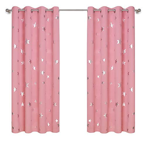 Anjee Kids Curtains for Girls Bedroom, Foil Print Star Curtains for Room Darkening, Nursery Blackout Curtains Window Drapes, W52 x L63 inches, 2 Panels, Baby Pink