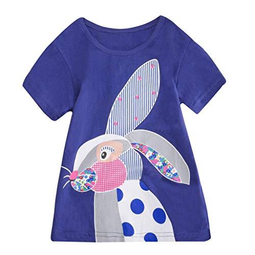 JUTOO Kleinkind Kinder Baby Jungen mädchen Kleidung Kurzarm niedlichen Cartoon Tops t-Shirt Bluse (Blau,120)