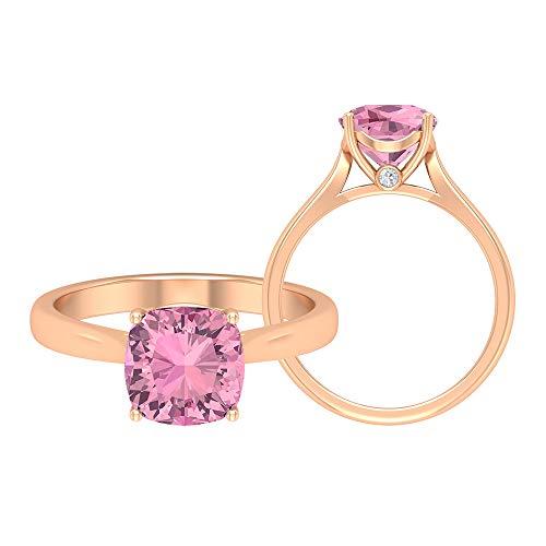 Anillo de corte cojín, anillo de compromiso solitario, piedra preciosa de 2,13 quilates, anillo de oro turmalina D-VSSI de 8 mm, anillo de catedral, 18K Oro rosa, Size:EU 49
