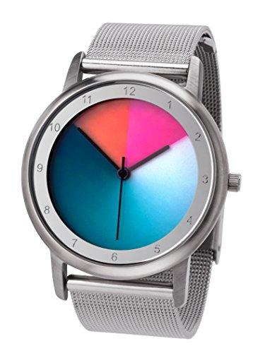 Rainbow e-motion of color Avantgardia - Reloj de Cuarzo Unisex, con Correa de Acero Inoxidable, Color Plateado