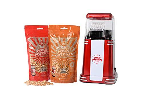 CORN POPPETS | Máquina de Palomitas de Maiz | Palomitero Sin Aceite, Sin Humos + 2 Bolsas de Granos de Maiz Sabor Dulce y Salado