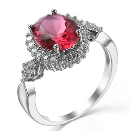 XLOOYEE Joyería de Zircon de Cristal Anillo Anillo de joyería de Plata para Novia Compromiso,Rojo