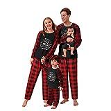 Pijamas Navideños Invierno a Juego para Familia Top Estampado Feliz Navidad con Pantalones a Cuadros Pjs Ropa de Dormir de Manga Larga Camiseta de Manga Larga + Pantalones