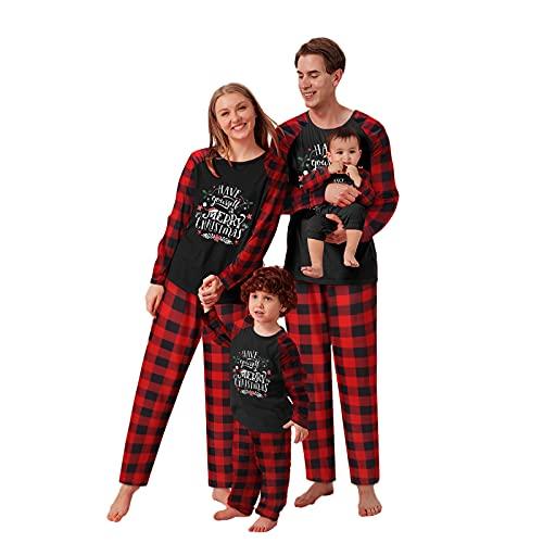 Asshop Familien Weihnachten Pyjamas Set Weihnachts Pyjama Klassisches Weihnachts Farbschema mit Weihnachtsmann, Weihnachtsbaum Schneemann, und Andere Drucke, 2 Teiliger Bequemer und Warmer Pyjama.