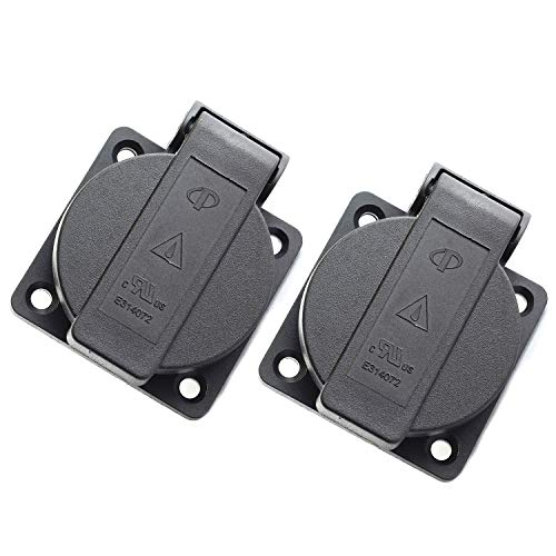 RuiLing 2-Pack US Standard Water-Proof Power Outlet 3-Hole Socket AC 15A 125V Panel Mount Dust-Proof Industrial Electrical Female Plug Power Connector