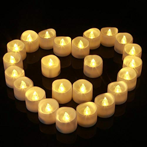 Heinside Safe - Candele da tè a LED, senza fiamma, senza fumo, con pilastro bianco caldo, per matrimonio, anniversario, compleanno, Natale, decorazione da matrimonio (colore: bianco caldo normale)