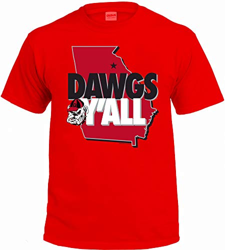 NCAA Y'all T Shirts - Multiple Universities Available - Up to 2X and 3X (Georgia Bulldogs, Medium)