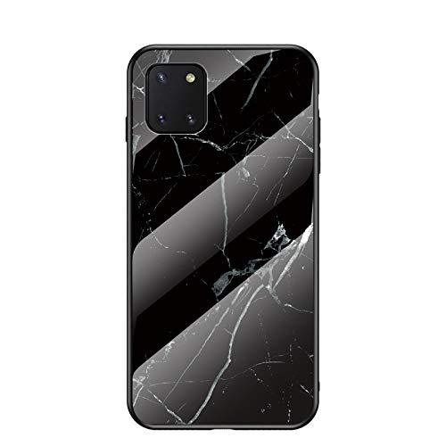 Funda para Samsung Galaxy Note 10 Lite Marmol Case Tapa Trasera de Cristal Templado con TPU Edge Carcasa para Samsung Galaxy Note 10 Lite (Negro Blanco)