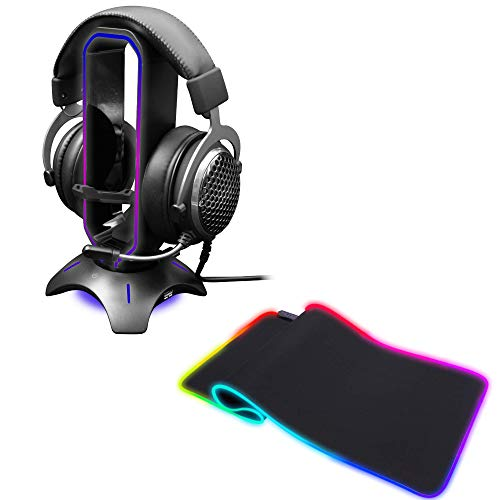 Tilted Nation RGB Headset Stand + RGB Gaming Mouse Pad Bundle - Immerse in Your Gaming - 3 in 1 Gaming Headset Stand with Mouse Bungee and USB Hub - Extended RGB Mousepad with 8 Modes