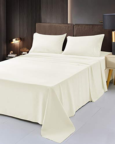 Mutlu Home Goods Split King Size -5 Piece- Ivory Bamboo Sheet Set - Premium Bamboo Luxury Bedding - Deep Pockets, Hypoallergenic, Fade, Wrinkle, Stain Resistant