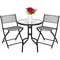 Best Choice Products 3-Piece Patio Bistro Dining Furniture Set with Textured Glass Tabletop