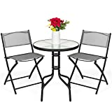 Best Choice Products 3-Piece Patio Bistro Dining Furniture Set w/Round Textured Glass Tabletop, Folding Chairs - Gray