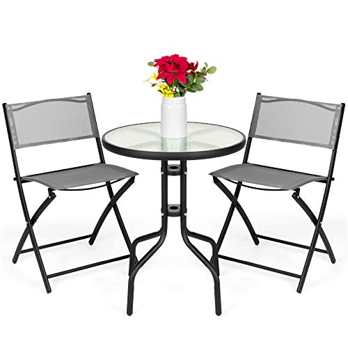 dining set with foldable chairs Best Choice Products 3-Piece Patio Bistro Dining Furniture Set w/Textured Glass Table Top, 2 Folding Chairs, Steel Frame, Polyester Fabric - Gray