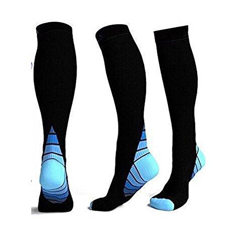 zantec Hombres y Mujeres al aire libre transpirable calcetines de compresión Sports Calcetines escalonado para la recuperación de ciclismo continua, color azul, tamaño large/extra-large