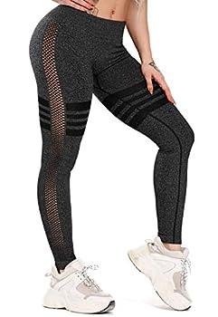 FITTOO Women s Striped Mesh Workout Leggings Seamless Panel Sheer Yoga Pants Gym Running Tights Black L