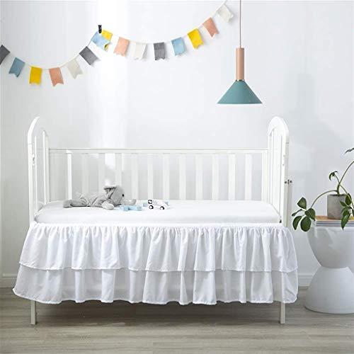 Faldas de la cama 2 capas con volantes Falda para niños Cuna de bebé Falda Falda Casa de bebé Cubierta de bebé con gota de 15 pulgadas, Rosa / Blanco Casas de cama Cabado de ropa de cama Dormitorio de