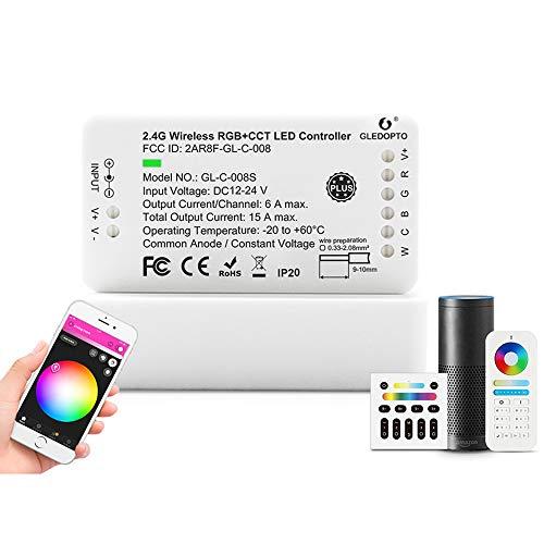 [Plus Edition] RGB CCT ZigBee LED Streifen Controller ZigBee kompatibel Plus Mi-Light Mi-Boxer Wandschalter oder Fernbedienung kombiniert mit ZigBee Steuerung, Amazon Echo Plus