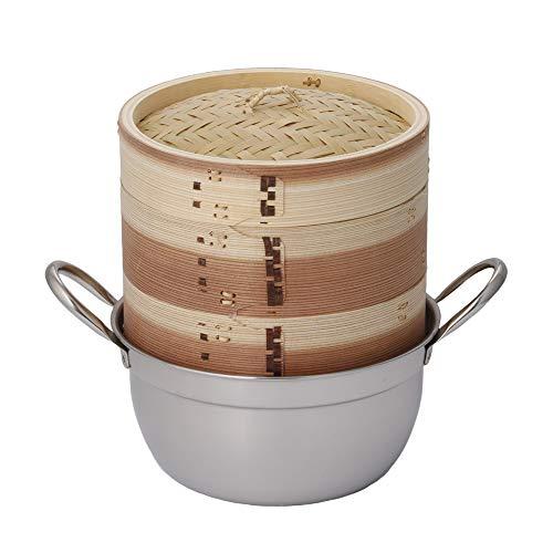 【かごや】杉 中華蒸篭(セイロ・蒸し器)18cmステンレス鍋付セット[クッキングシート10枚付](14)「せいろで...