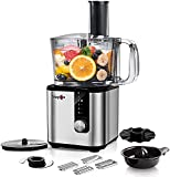 Food Processor- MAGICCOS 7-in-1 Food Processor Vegetable Chopper, 750W, 5 Variable Speeds & Pulse for Chopping, Kneading, Slicing, Fine/Coarse Grating, Emulsifying & Juicing, 8 Cup Capacity