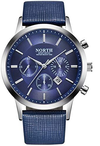 Reloj De Pulsera Hombre | Correa De Cuero Autentico | Estilo Elegante Y Deportivo Acabados Ideal para Regalar (Azul)