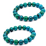 Diabetes Relief Chrysocolla Bracelet, 2Pcs Handcrafted Phoenix Stone 8mm Natural Chrysocolla Crystal Energy Beaded Bracelets for Women Men Gifts