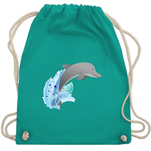 Shirtracer Tiermotive Kind - Kleiner Delfin - Unisize - Türkis - kleiner turnbeutel schwarz - WM110 - Turnbeutel und Stoffbeutel aus Baumwolle