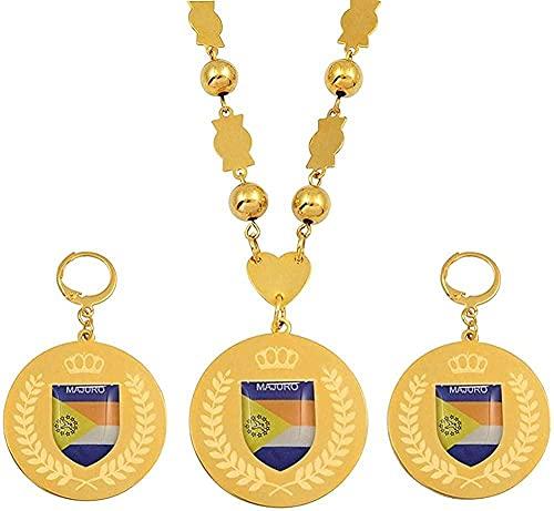 banbeitaotao Collar Conjuntos de Joyas Colgante de Acero Inoxidable Cuentas Collares Pendientes Cadena de Bolas Redondas Joyas de Marshallese