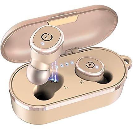 TOZO T10 Auriculares Bluetooth TWS IPX8 Impermeable Bluetooth 5.0 In Ear inalámbricos con Estuche de Carga y micrófono, Sonido Premium con Graves Profundos para Correr y Hacer Deporte Caqui