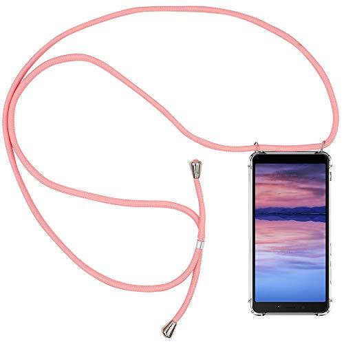 CLM-Tech Carcasa con Cuerda para Colgar Compatible con Xiaomi Redmi 6A - Funda Silicona Transparente con Cordon para Llevar en el Cuello, Rosa