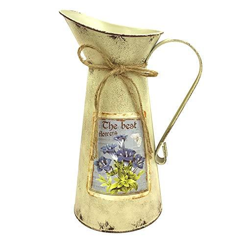 IDoall jarrón de regadera de 10.8 pulgadas de alto rústico galvanizado decorativo, jarrón vintage con patrón de flores, jarra de campo para sala de estar, dormitorio, cocina, oficina