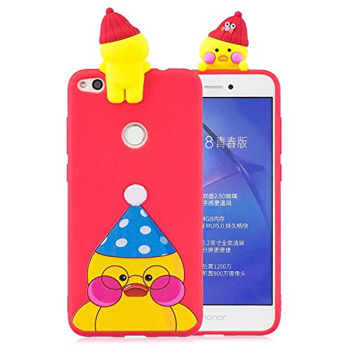 LAXIN P8 Lite (2017) Case, Cute Duck - Red 3D Cartoon Animal Soft Rubber Silicone Back Shell Skin Protective Cover Protective Ultra Thin Slim Bumper One Piece Shockproof for Girls Boys Men Woman