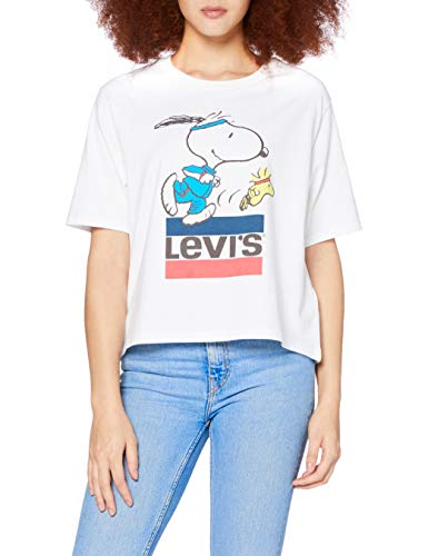 Levi's Graphic Boxy tee Camiseta, Snoopy Torch Runner White +, M para Mujer