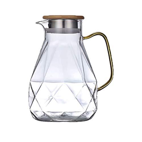 Yardwe - Jarra de agua de cristal con tapa de acero inoxidable para bebidas, cristal transparente, jarra de borosilicato para bebidas, té y té