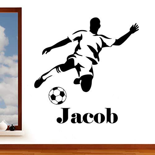 Vinilo adhesivo personalizado de Rubybloom Designs, adhesivo decorativo para pared con diseño de jugador de fútbol y balón, para decoración de dormitorio infantil, fácil de aplicar, fácil de despegar, personalizable, vinilo, negro, Large 102cm x 104cm