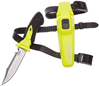 New Tusa Xpert II 420 Stainless Steel Scuba Diving BCD Knife (Flash Yellow) with Drop Point Tip