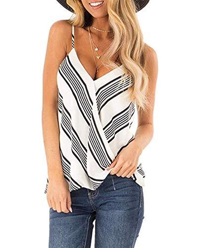 ACHIOOOWA - Top da donna, senza maniche, sexy, con schiena scoperta, per l'estate D bianco e45432 XL
