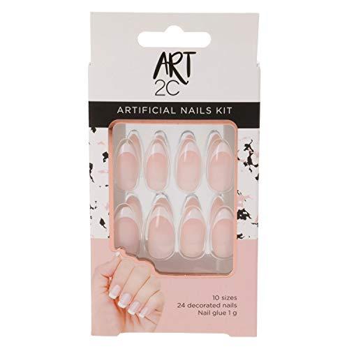 Art 2C - Kit de uñas postizas con pegamento fáciles de poner y quitar, 24 uñas decoradas con forma almendrada y manicura francesa (016), 10 tamaños