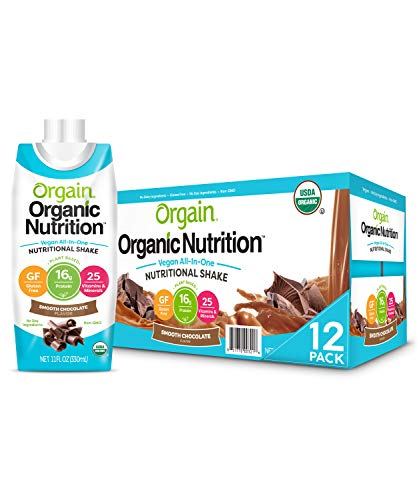Orgain Organic Vegan Plant Based Nutritional Shake, Smooth Chocolate - Meal Replacement, 16g Protein, 25 Vitamins & Minerals, Dairy Free, Gluten Free, 11 Ounce, 12 Count (Packaging May Vary)