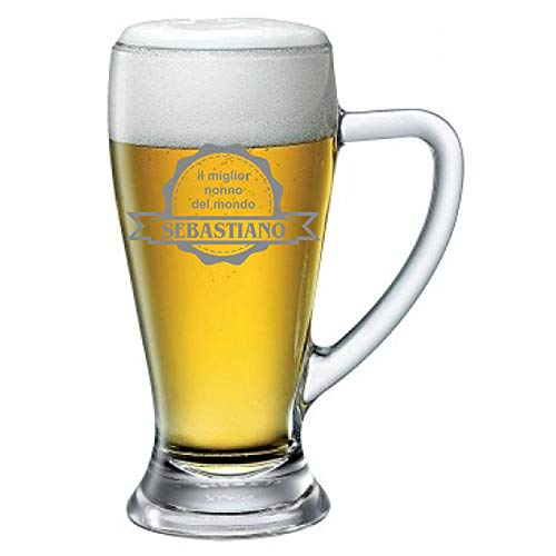 Boccale da Birra Personalizzato con Nome Incisione Festa dei Nonni Il miglior Nonno del Mondo (Nome) - Idea Regalo Nonno - Regali Originali - Bicchiere in Vetro Chiaro, ca 38cl