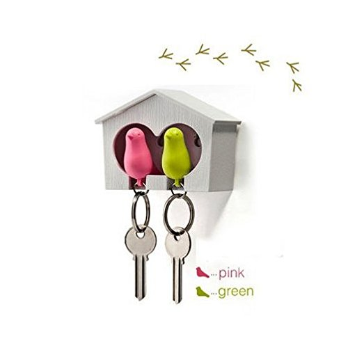 DUO Wood House Sparrow Bird Key Ring + Key Holder + Whistle - Green/Pink Bird