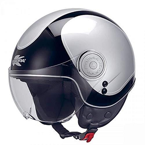 Casco demi-jet taglia piccole passeggero ragazzo donna scooter città vespa sh custom con visiera omologato moto (XS)