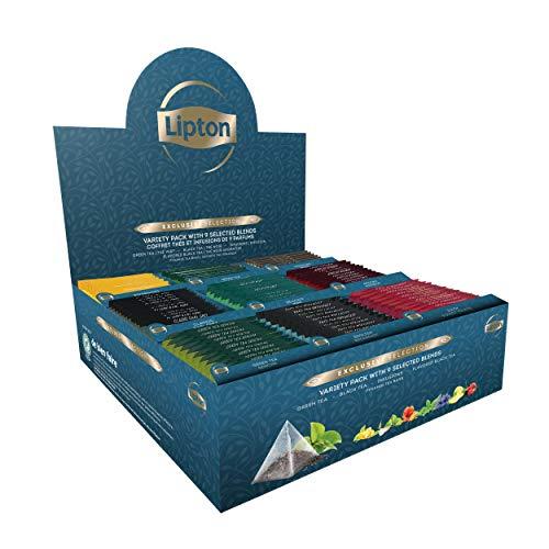 Lipton Exclusive Collection Coffret Thés et Infusions, 9 Parfums Différents, Label Rainforest Alliance, 108 Sachets