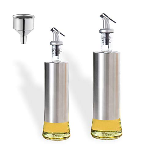 Boyun ヘルシーオイルボトル 調味料 容器 ステンレスガラスオイルボトル醤油ボトル酢ボトルオイルコントロール漏れ防止スパイスボトル じょうご付き(300ml+500ml)