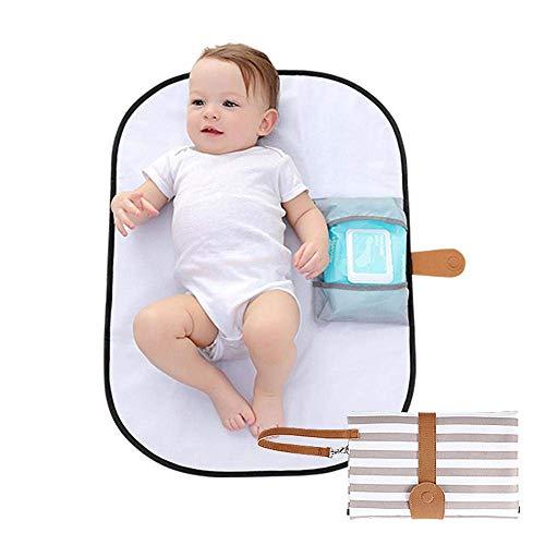 Tragbare Baby Wickelunterlage für unterwegs | Faltbare Reise Wickeltasche mit abwaschbarer Wickelauflage 70 x50 cm und Befestigung für Kinderwagen (typ 3)