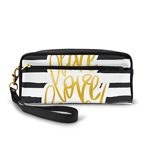 Pencil Case Pen Bag Pouch Stationary,Romantic Design with Hand Drawn Stripes and Calligraphic Text,Small Makeup Bag Coin Purse